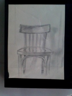 """Chair"", drawing of chair, pencil on paper (10 cm x 13cm)"