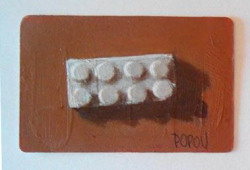 """Two by four"", Lego brick painting, acrylic on prepaid phone card (5,5 cm x 8,5cm)"