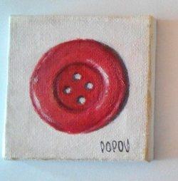 """Red button"", acrylic on canvas, 7cm x 7cm (sold)"