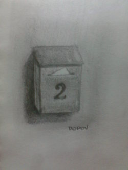 "Day 23: ""Post box"", pencil on paper, 7cm x 9cm (sold)"