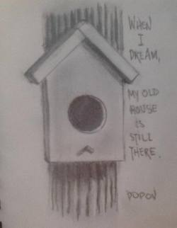 "Day 25: ""My old house"", pencil on paper, 10cm x 15cm (sold)"