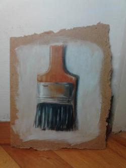"Day 31: ""Bristle brush"", acrylic on hardboard, 13cm x 16cm (sold)"