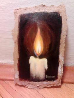 "Day 27: ""Candle"", mini art, acrylic on hardboard, 8cm x 13cm (sold)"