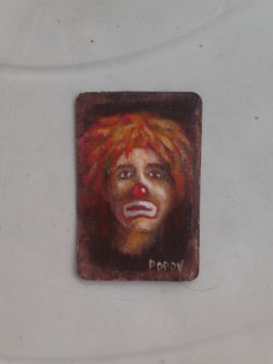 "Day 16: ""Clown"", acrylic on plastic business card ( 5,5cm x 8cm)"