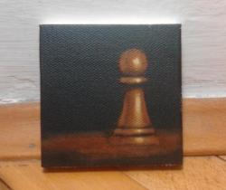 "Day 35: ""Pawn"", acrylic on canvas, 7,5cm x 7,5cm (sold)"