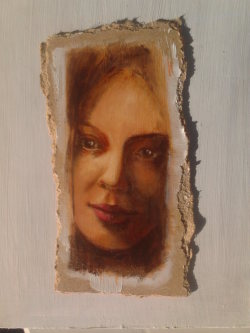Day 29: Portrait - study, acrylic on hardboard, 10cm x 20cm (sold)