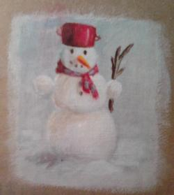 "Day 38: ""Snowman"", acrylic on cardboard, 10cm x 11,5cm (sold)"