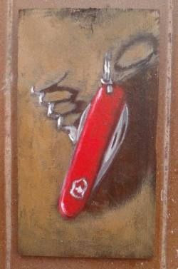 "Day 15: ""Swiss"", acrylic on plywood, 8,5cm x 15,5cm (sold)"