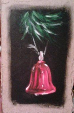 "Day 40: ""The bell"", acrylic on hardboard, 10cm x 15cm (sold)"