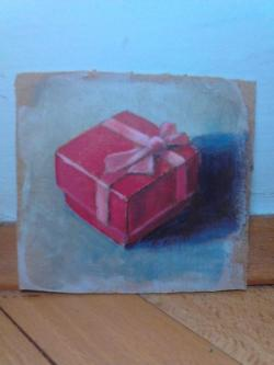 "Day 33: ""The gift"", acrylic on hardboard, 9,5cm x 10cm (sold)"