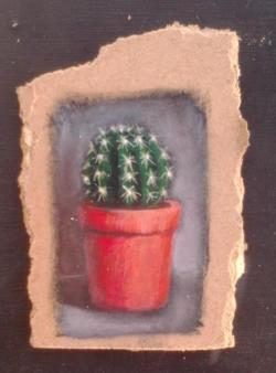 "Day 47: ""Little cactus"", acrylic on hardboard, 9cm x 12cm (sold)"
