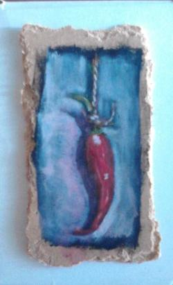 "Day 59: ""Chili"", acrylic on hardboard, 6cm x 10,5cm (sold)"