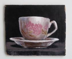 "Day 60: ""Coffee cup"", acrylic on hardboard, 11cm x 13cm (sold)"