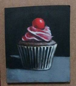 "Day 73: ""Cupcake"", acrylic on MDF board, 11cm x 13cm (sold)"