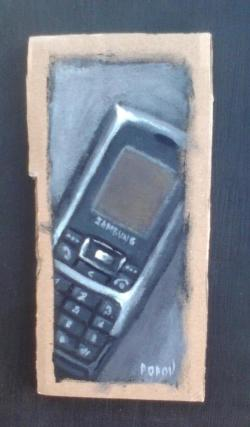 "Day 50: ""Phone"", acrylic on cardboard, 7cm x 14,5cm (sold)"