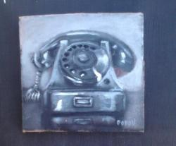 "Day 51: ""Old phone"", acrylic on cardboard, 10cm x 10cm (sold)"