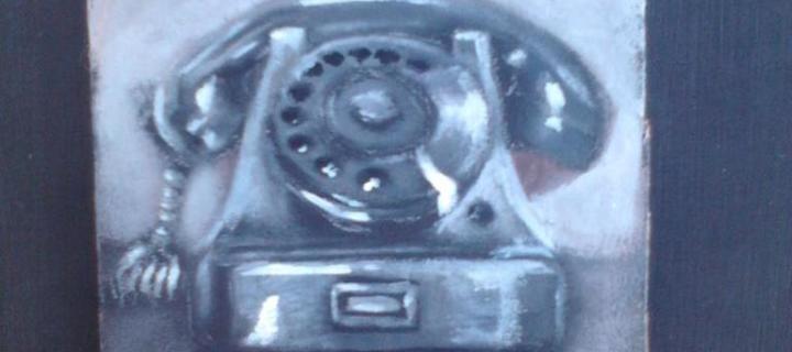 "Day 51: ""Old phone"", acrylic on cardboard, 10cm x 10cm (sold)"
