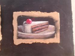 "Day 48: ""Piece of cake"", acrylic on hardboard, 9cm x 13cm (sold)"