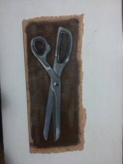"Day 64: ""Scissors"", acrylic on hardboard, 10cm x 23cm (sold)"