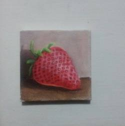 "Day 69: ""Strowberry"", acrylic on canvas, 7,5cm x 7,5cm (sold)"