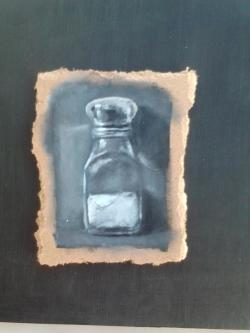 "Day 46: ""The salt of the earth"", acrylic on hardboard, 9cm x 12cm (sold)"