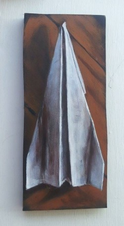 "Day 91: ""Airplane"", acrylic on MDF board, 9cm x 21,5cm (sold)"