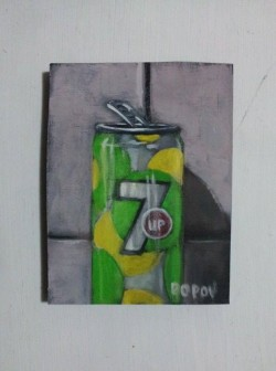 "Day 95: ""Can"", acrylic on MDF board, 9,5cm x 12cm (sold)"