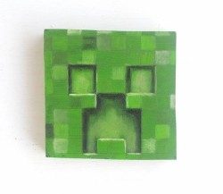 "Day 89: ""Creeper Minecraft"", acrylic on MDF board, 9cm x 9cm (sold)"