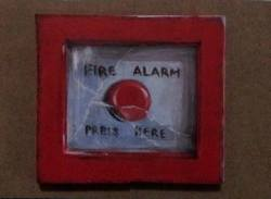 "Day 79: ""Fire alarm"", acrylic on MDF board, 9cm x 10cm (sold)"