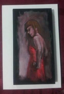 Day 76: Figure (study), acrylic on MDF board, 7cm x 13cm (sold)