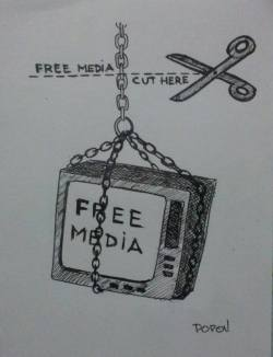 "Day 85: ""Free media"", archival pen on paper, 10,5cm x 14,5cm (sold)"