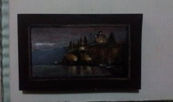 "Day 81: ""Ohrid at dawn"", acrylic on MDF board, 8cm x 12,5cm (sold)"