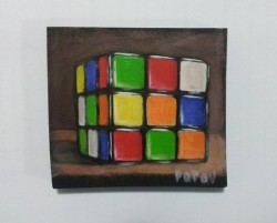 "Day 92: ""Rubic cube"", acrylic on MDF boar, 8cm x 9cm (sold)"