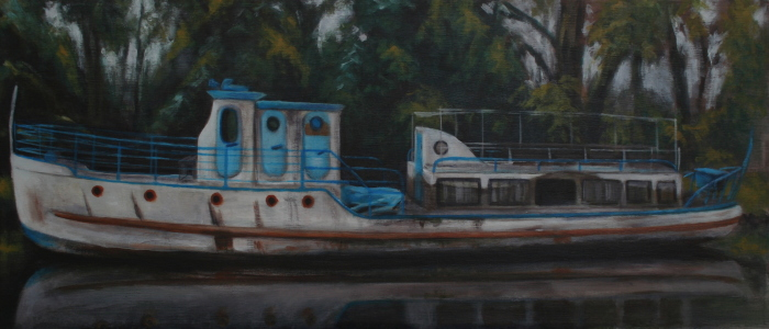 """Abandoned boat"", acrylic on canvas, 30cm x 70cm  (Price: 400€, shipping included)"