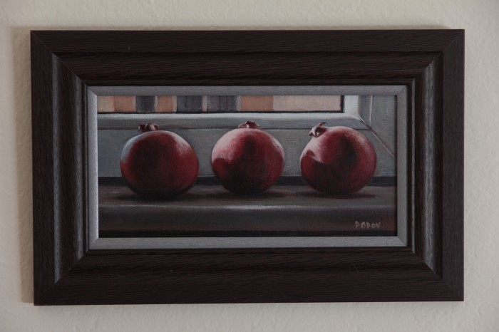 """On the window"", painting of pomegranates"