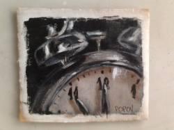 """Day 11: """"Eleven"""", acrylic on cardboard, 12cm x 10cm (sold)"""