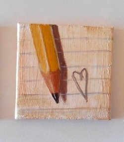 """Hearts"", acrylic on canvas, 7cm x 7cm (sold)"