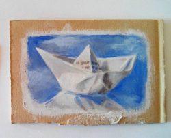 """Paper boat"", acrylic on cardboard, 10cm x 15cm (sold)"