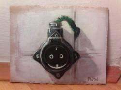 "Day 10: ""Socket"", acrylic on cardboard, 12,5cm x 15,5cm (sold)"