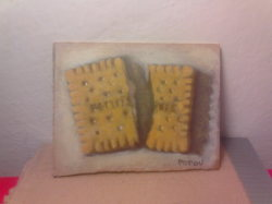 "Day 28: ""Broken biscuit"", acrylic on hardboard, 7cm x 10cm (sold)"