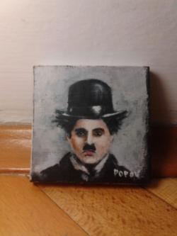 "Day 36: ""Charlie Chaplin"", mini portrait, acrylic on canvas, 7,5cm x 7,5cm (sold)"