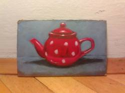 "Day 18: ""Polka dot teapot"", acrylic on hardboard, 11cm x 16cm (sold)"