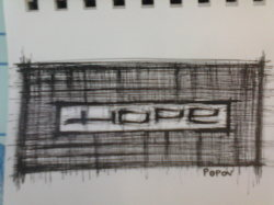 "Day 22: ""Hope"", archival pen on paper, 6cm x 8cm (not for sale)"