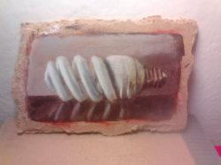 """Day 30: """"Light bulb"""", acrylic on hardboard, 7cm x 11cm (sold)"""