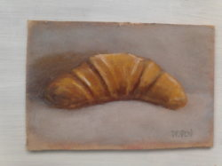 "Day 19: ""Our daily bread"", acrylic on hardboard, 13cm x 8,5cm (sold)"