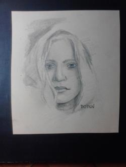 Day 37: Portrait drawing, pencil on paper, 12cm x 14cm (available)