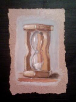 "Day 41: ""Sand watch"", acrylic on hardboard, 9cm x 13,5cm (sold)"