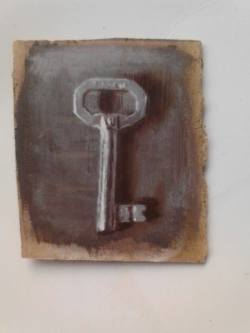 "Day 14: ""The key"", acrylic on hardboard, 8cm x 10cm (sold)"