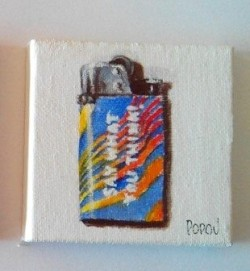 "Day 13: ""Say what you think"", acrylic on canvas, 7cm x 7cm (sold)"