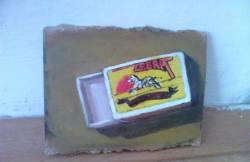 "Day 24: ""Empty"", acrylic on hardboard, 6cm x 10cm (sold)"